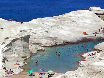 Sarakiniko Beach Milos - Giourgas Milos Car Rental